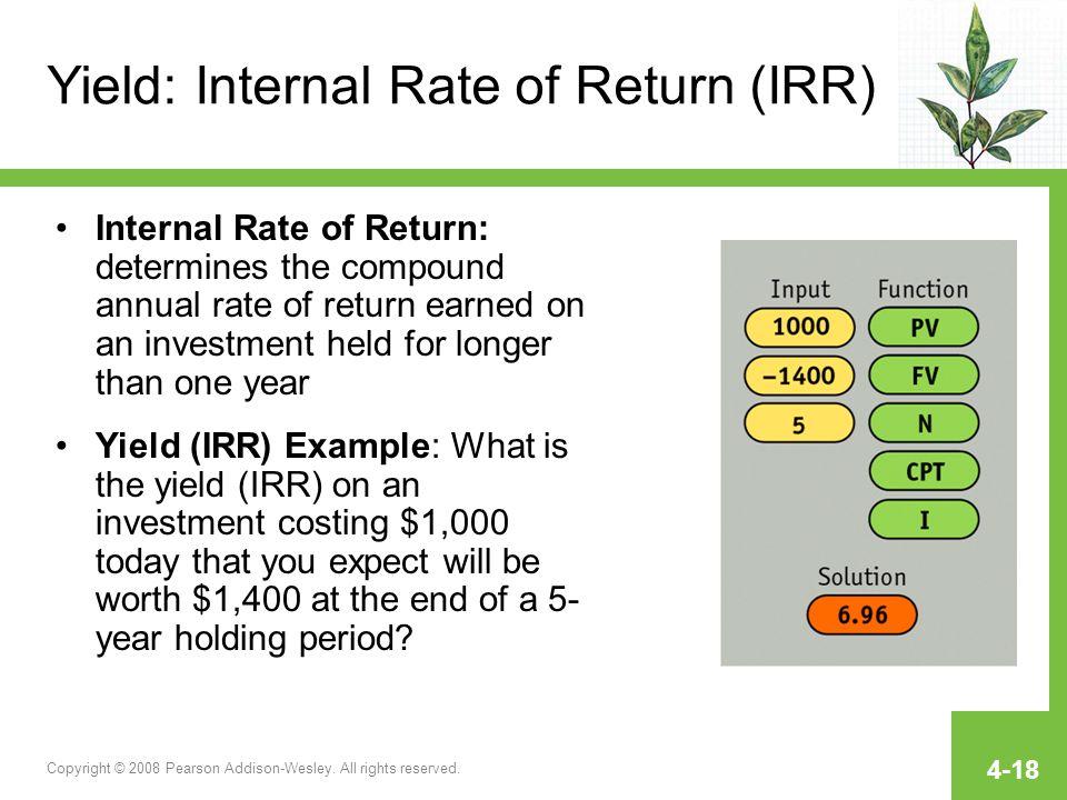 Yield: Internal Rate of Return (IRR)
