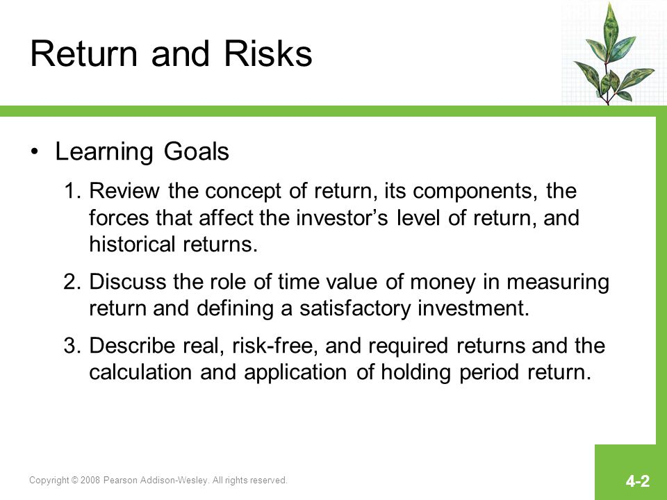 Return and Risks Learning Goals