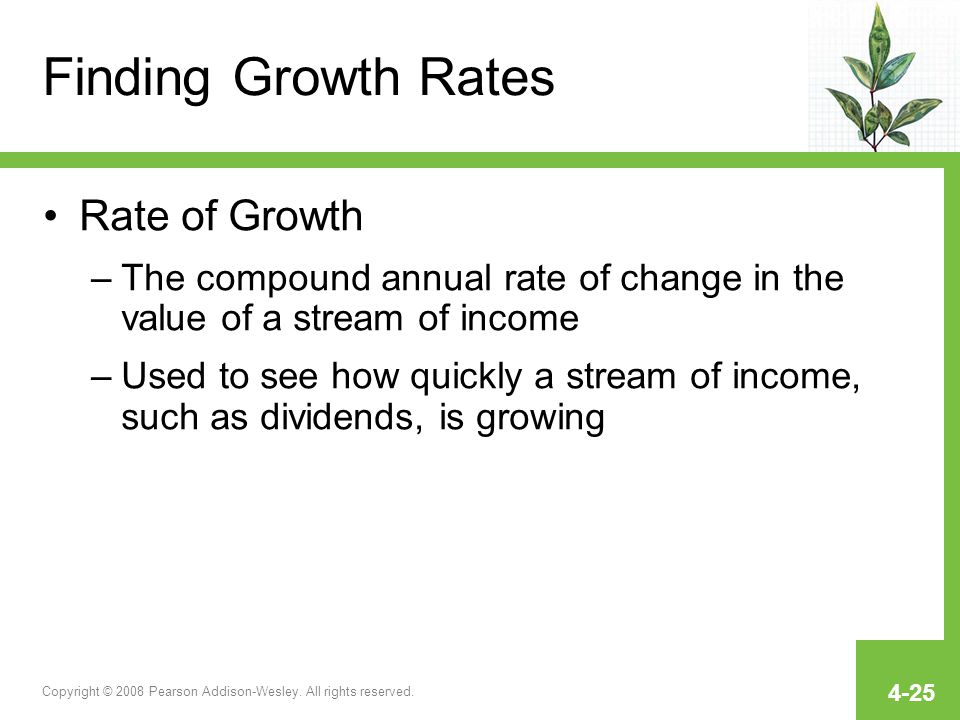 Finding Growth Rates Rate of Growth
