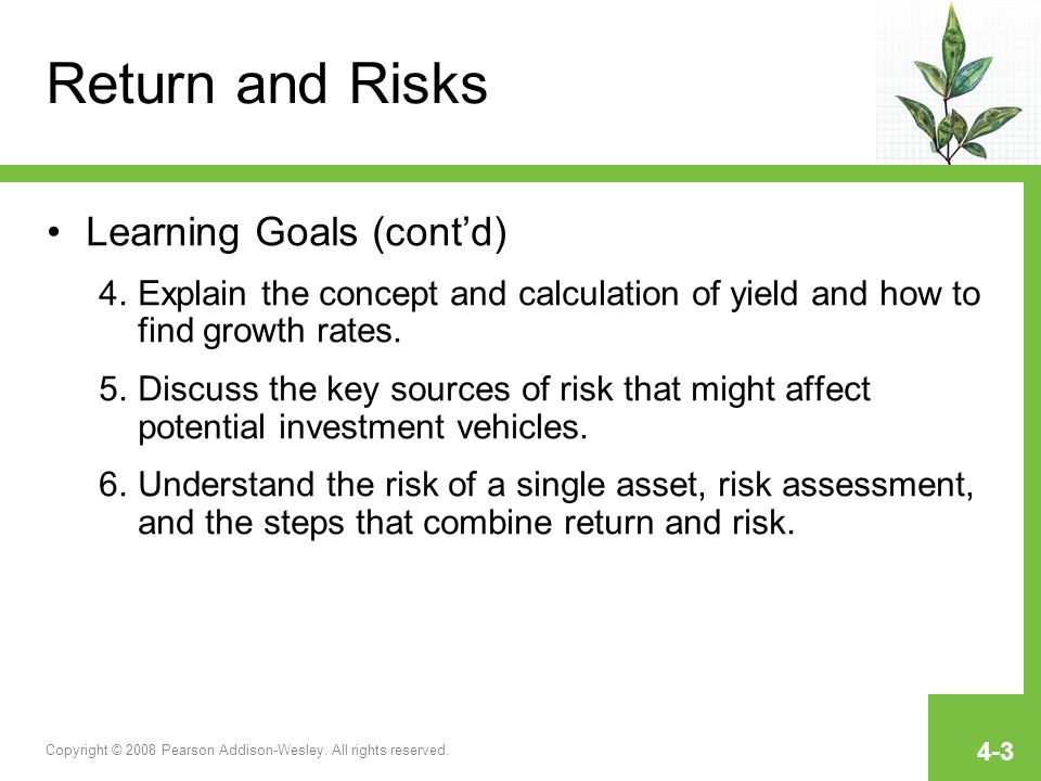 Return and Risks Learning Goals (cont'd)