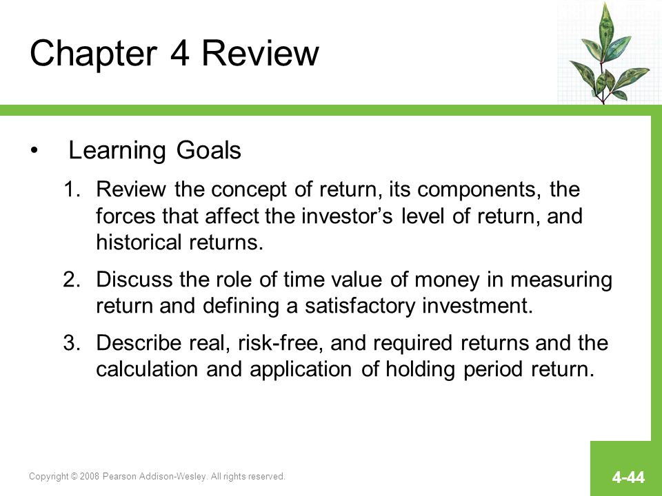 Chapter 4 Review Learning Goals