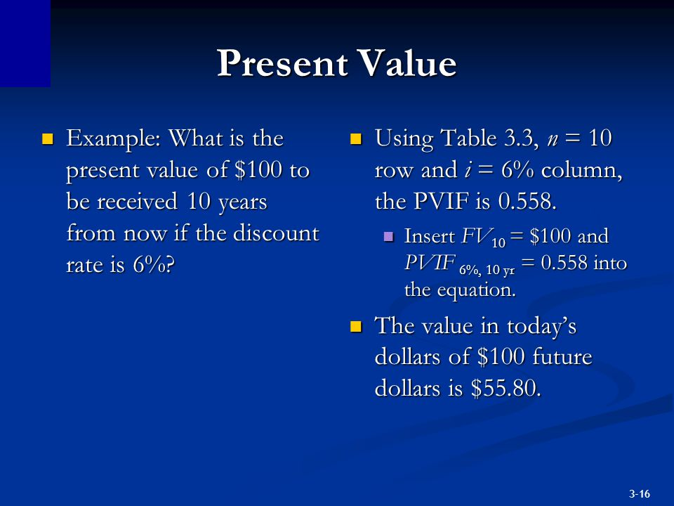 Present Value Example: What is the present value of $100 to be received 10 years from now if the discount rate is 6%