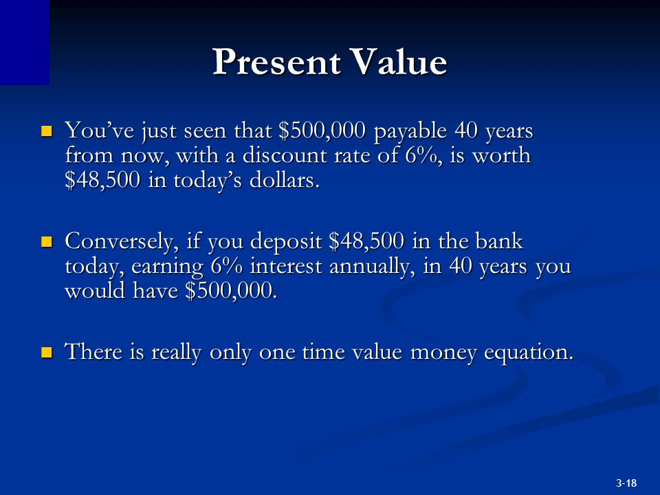 Present Value You've just seen that $500,000 payable 40 years from now, with a discount rate of 6%, is worth $48,500 in today's dollars.