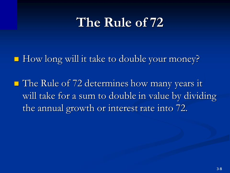 The Rule of 72 How long will it take to double your money