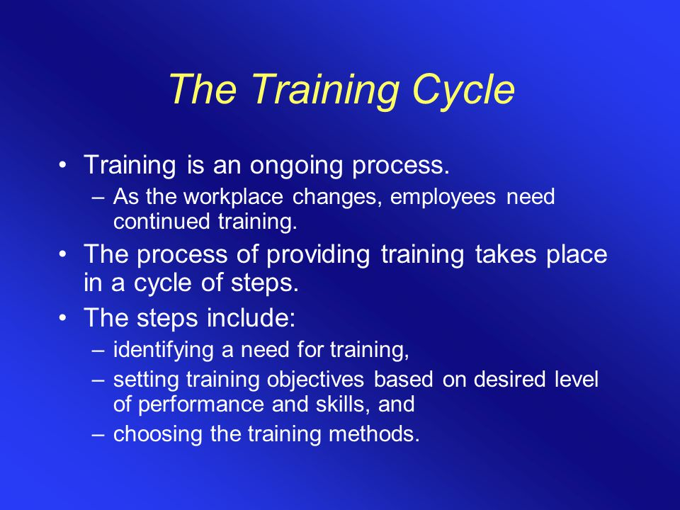 The Training Cycle Training is an ongoing process.