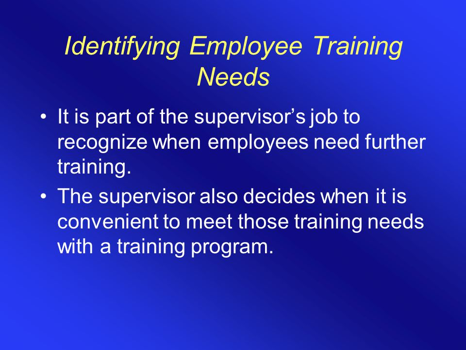 Identifying Employee Training Needs