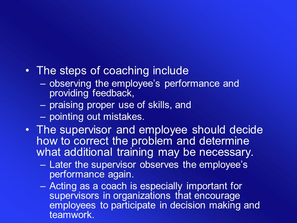 The steps of coaching include