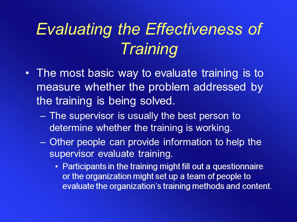 Evaluating the Effectiveness of Training