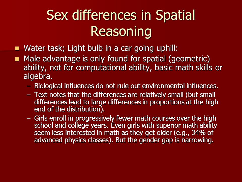 Sex differences in Spatial Reasoning