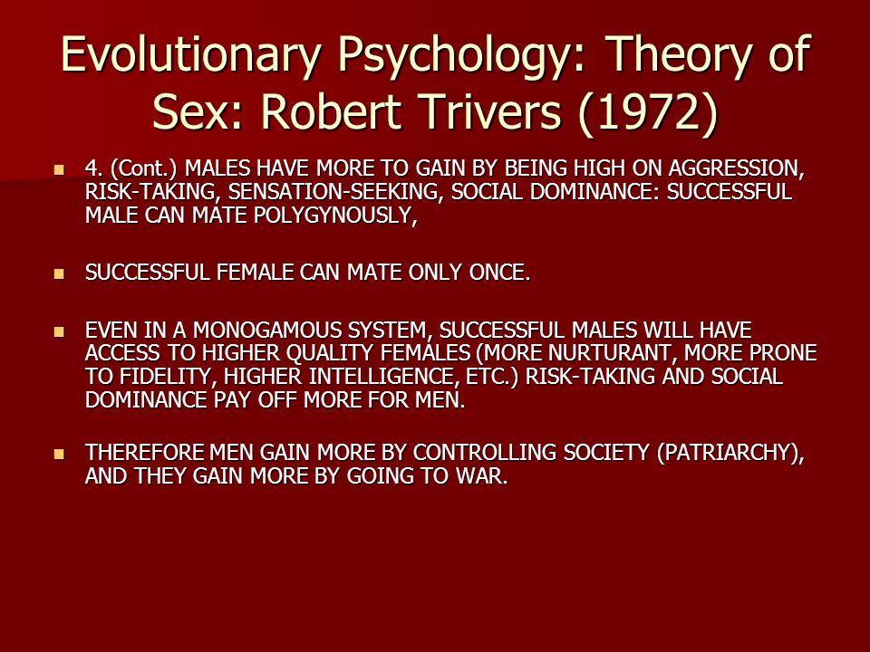 Evolutionary Psychology: Theory of Sex: Robert Trivers (1972)