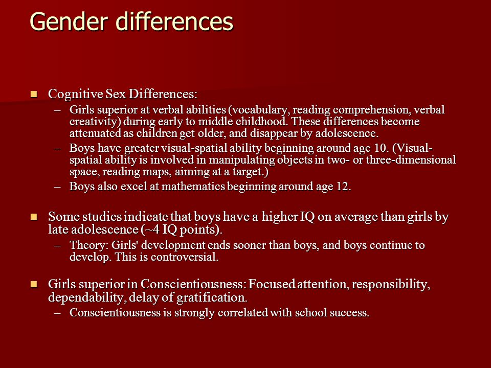 Gender differences Cognitive Sex Differences: