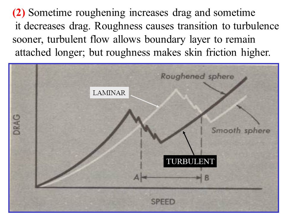(2) Sometime roughening increases drag and sometime