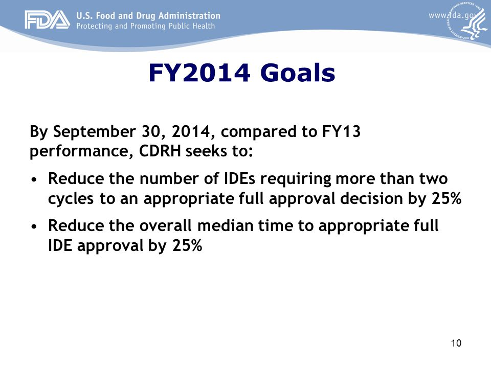 FY2014 Goals By September 30, 2014, compared to FY13 performance, CDRH seeks to:
