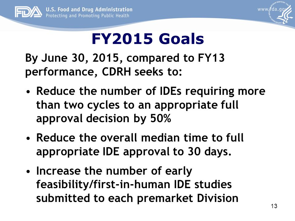 FY2015 Goals By June 30, 2015, compared to FY13 performance, CDRH seeks to: