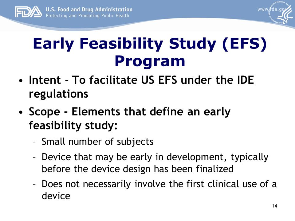 Early Feasibility Study (EFS) Program