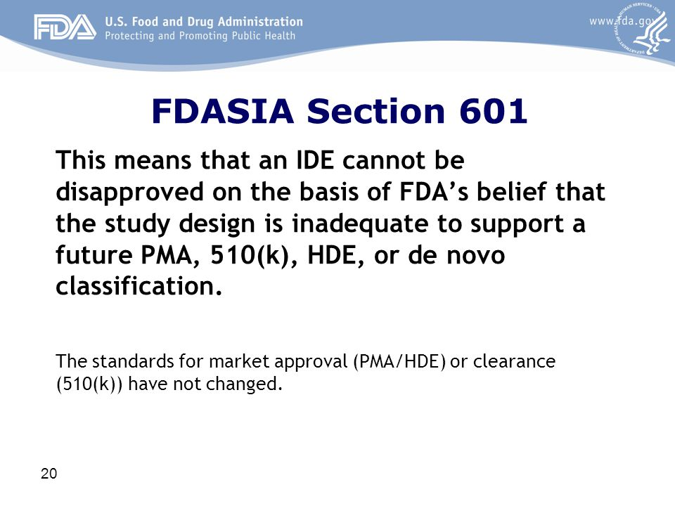FDASIA Section 601