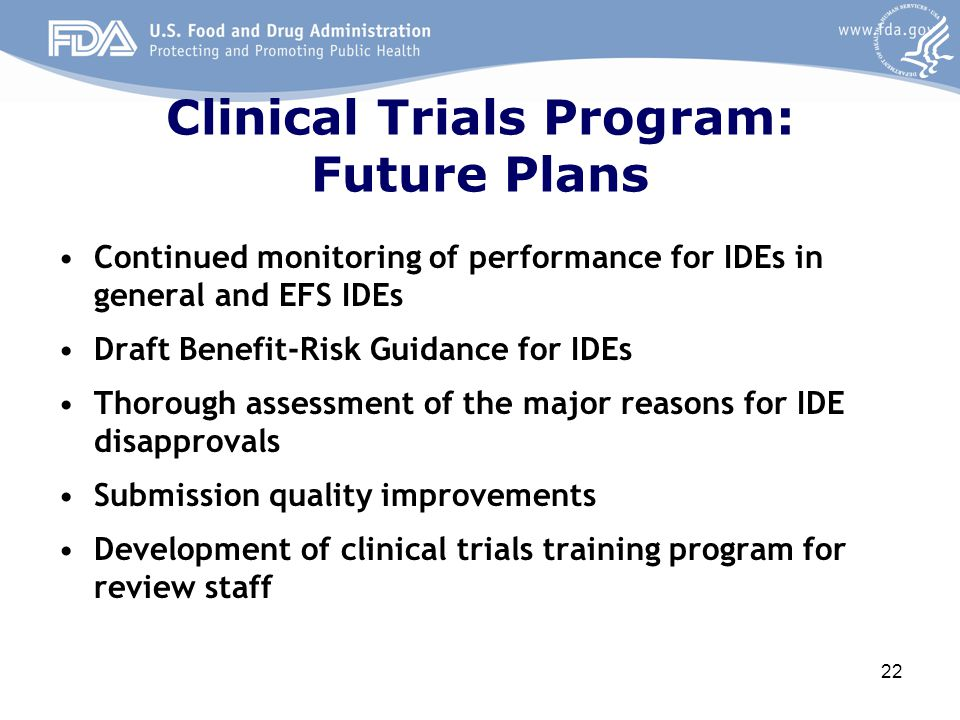 Clinical Trials Program: Future Plans