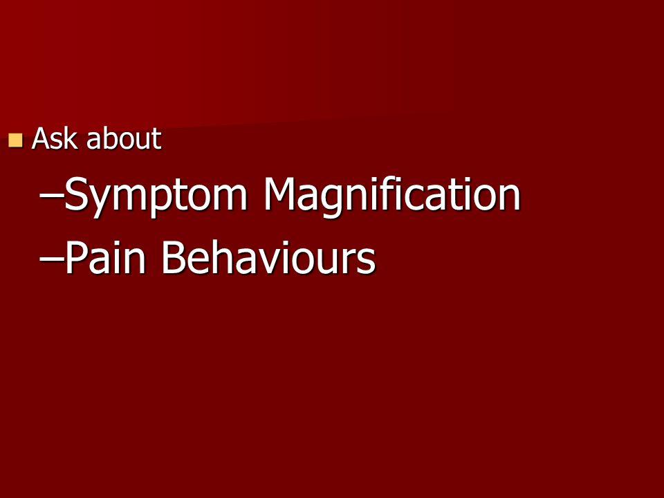 Symptom Magnification Pain Behaviours
