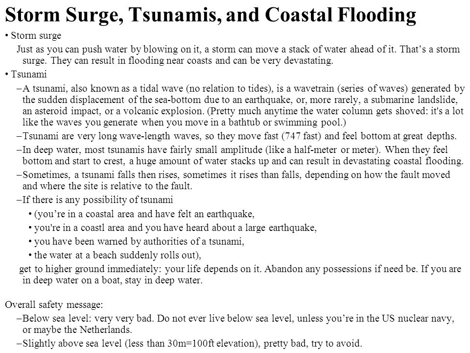 Storm Surge, Tsunamis, and Coastal Flooding