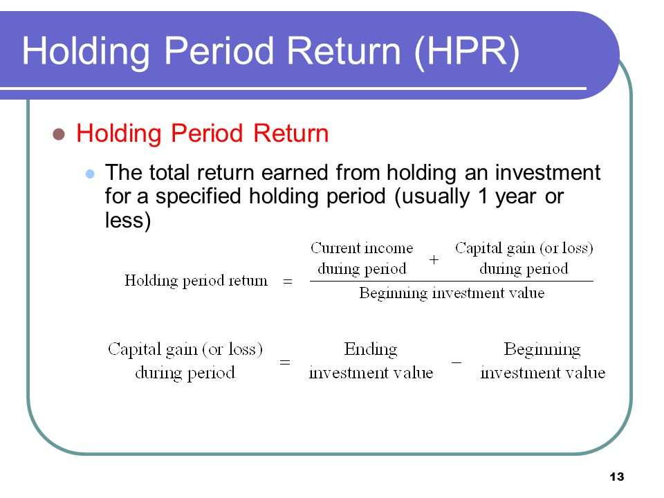 Holding Period Return (HPR)