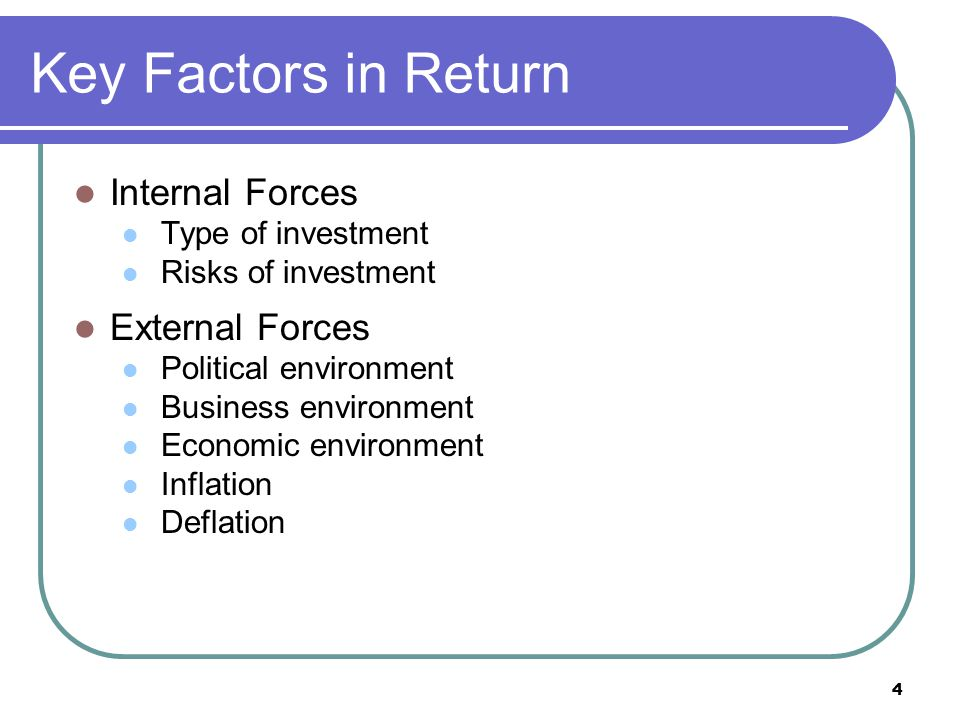 Key Factors in Return Internal Forces External Forces