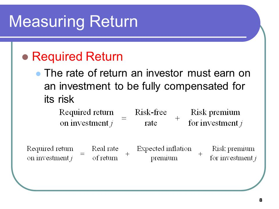 Measuring Return Required Return