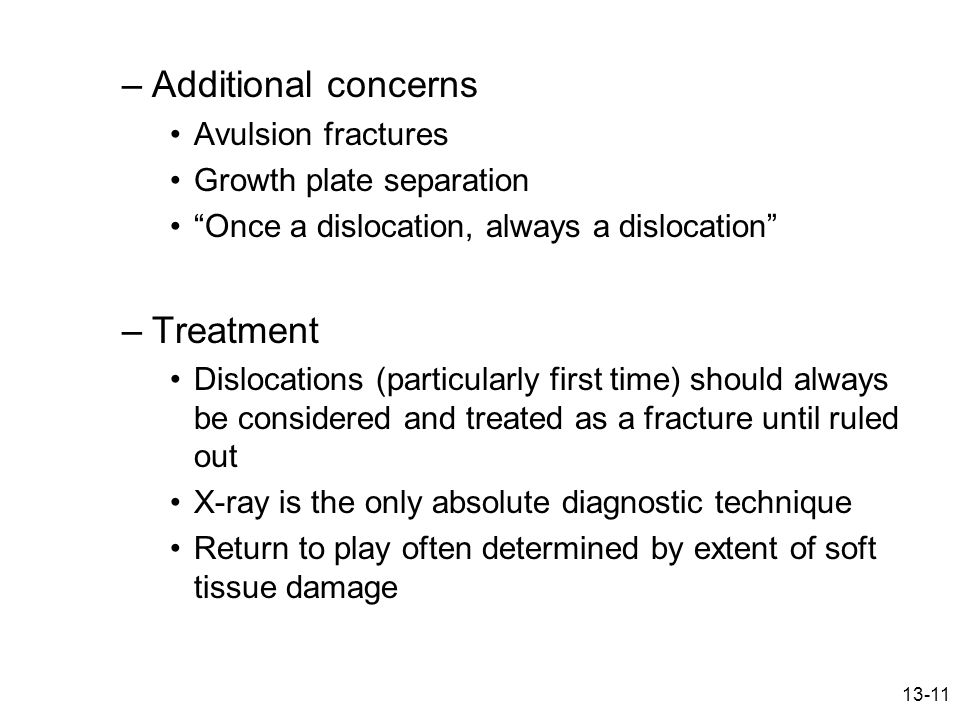 Additional concerns Treatment Avulsion fractures