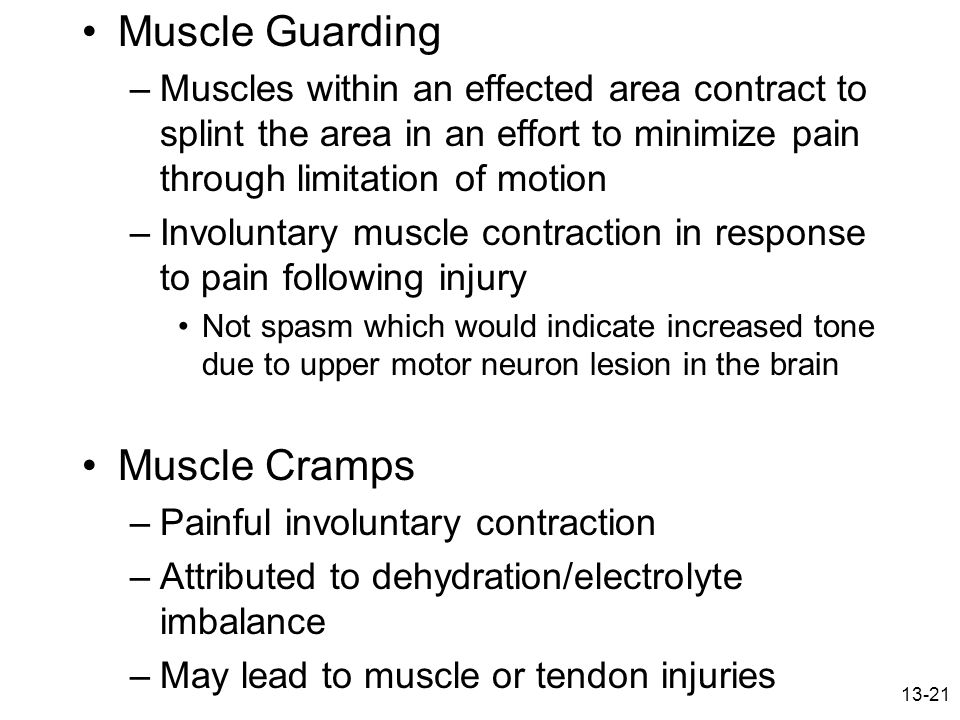 Muscle Guarding Muscle Cramps