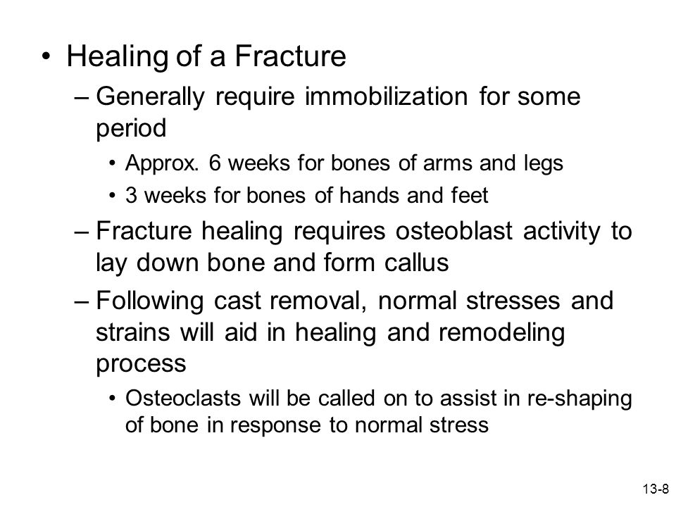 Healing of a Fracture Generally require immobilization for some period