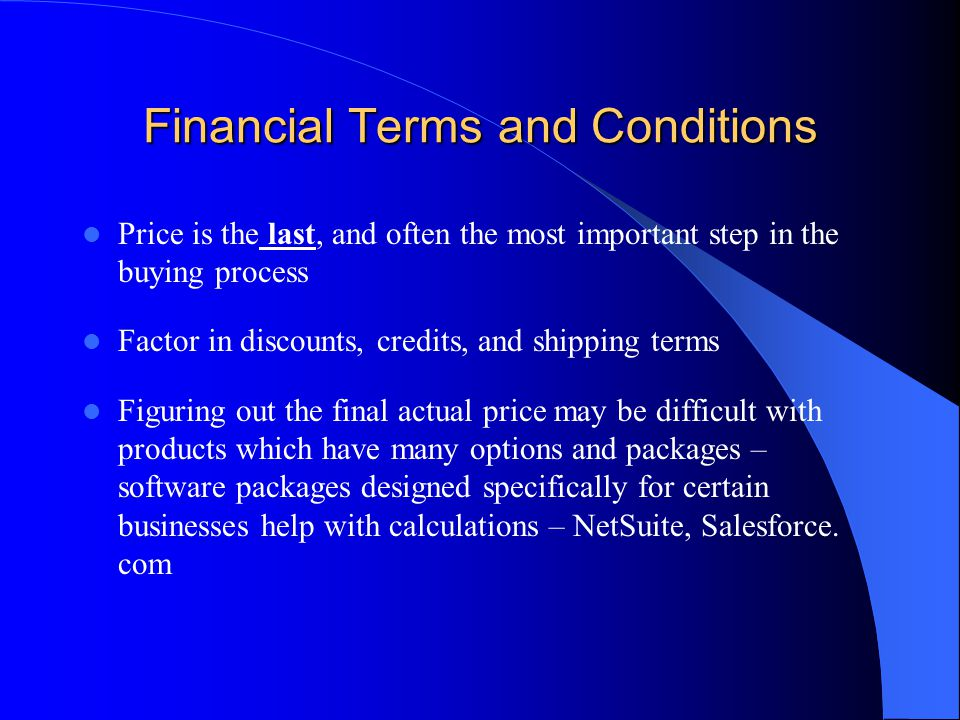 Financial Terms and Conditions