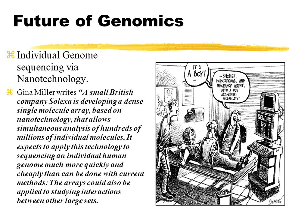 Future of Genomics Individual Genome sequencing via Nanotechnology.