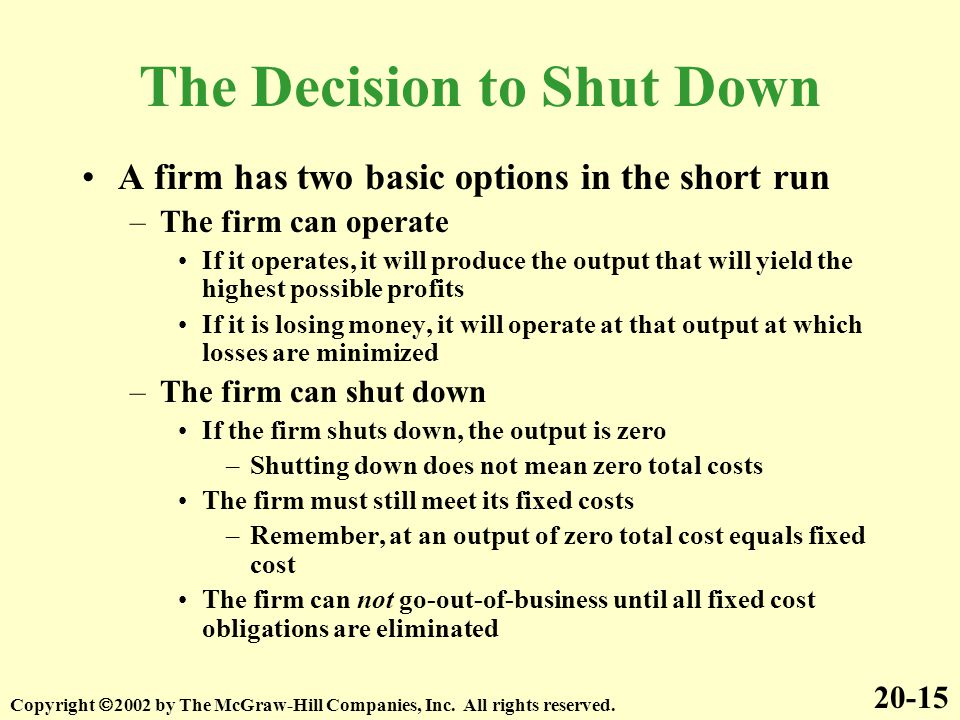 The Decision to Shut Down