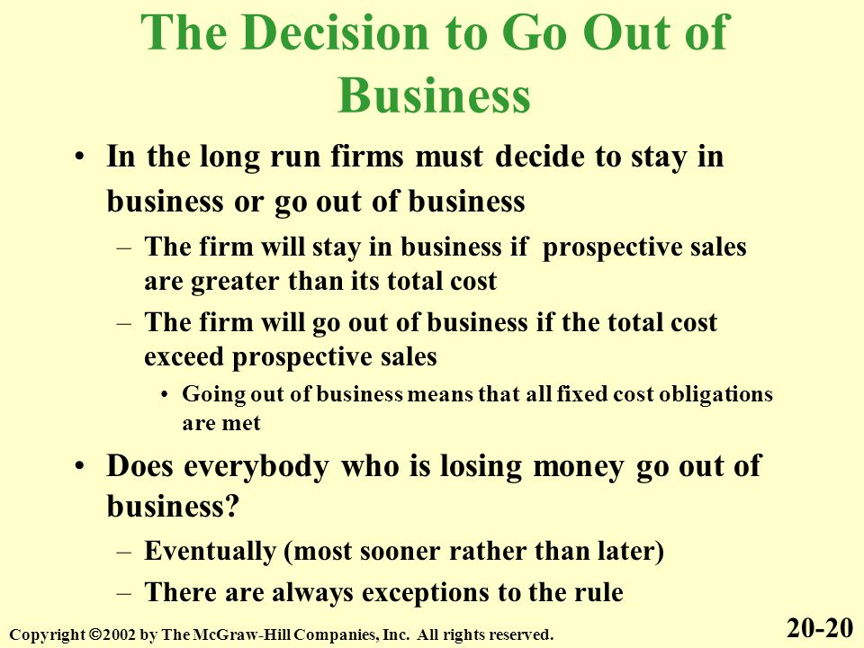 The Decision to Go Out of Business