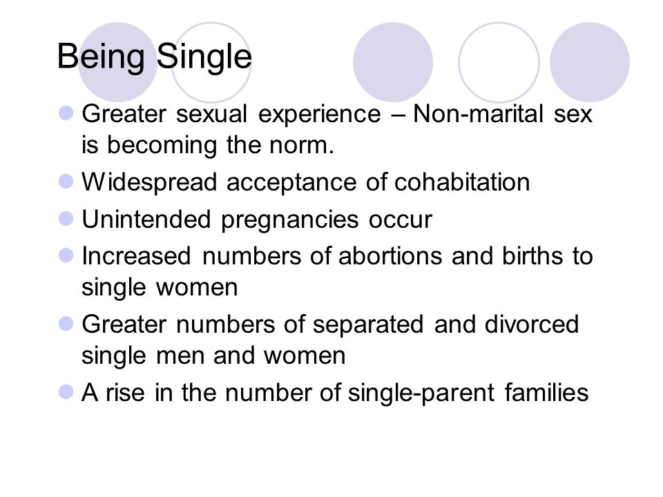 Being Single Greater sexual experience – Non-marital sex is becoming the norm. Widespread acceptance of cohabitation.