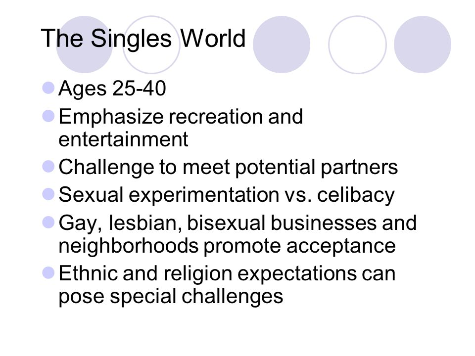 The Singles World Ages 25-40 Emphasize recreation and entertainment