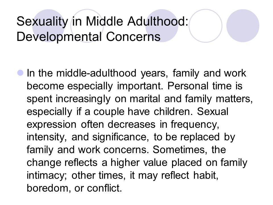 Sexuality in Middle Adulthood: Developmental Concerns