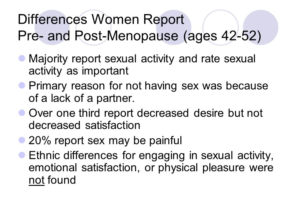 Differences Women Report Pre- and Post-Menopause (ages 42-52)