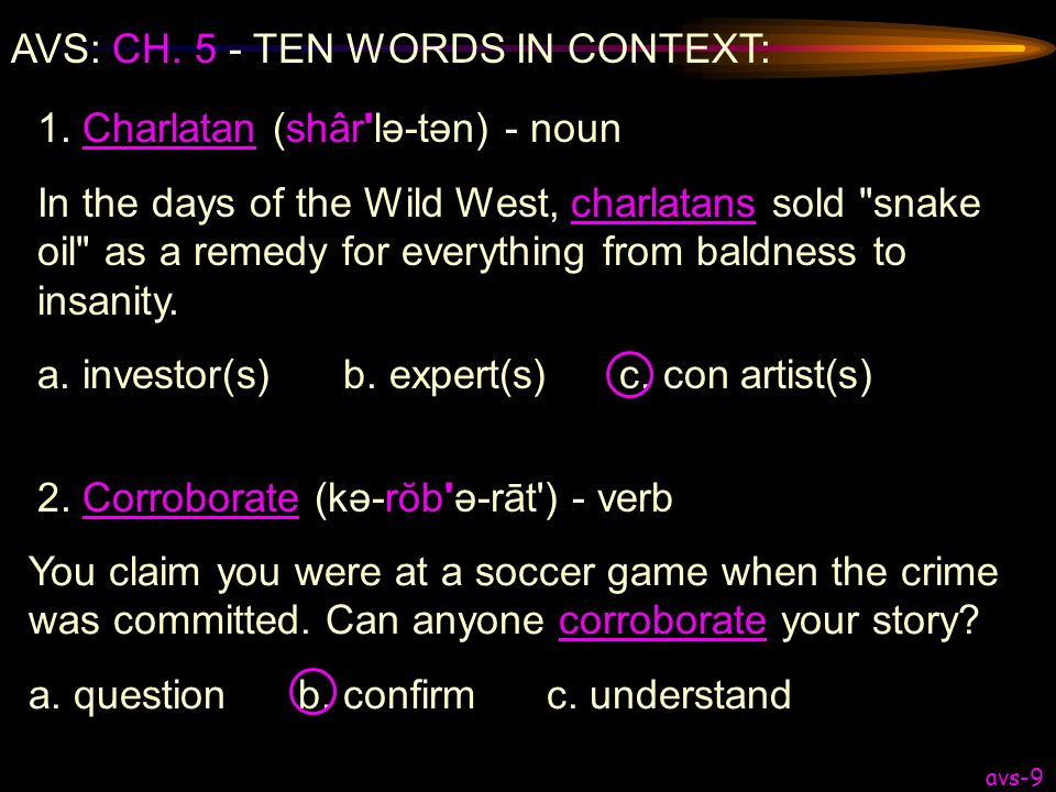 AVS: CH. 5 - TEN WORDS IN CONTEXT: