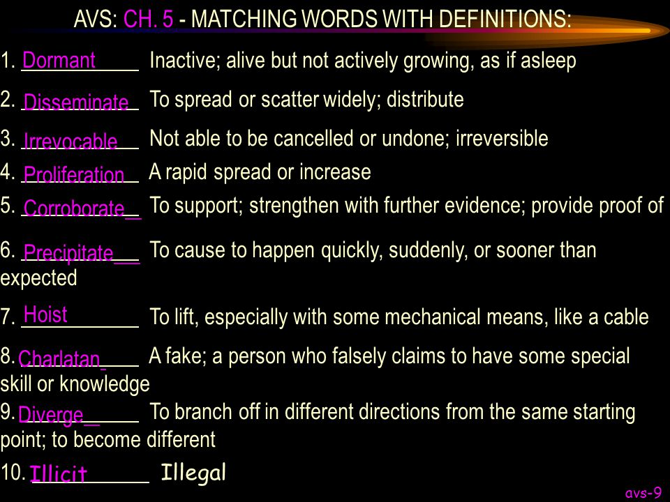 AVS: CH. 5 - MATCHING WORDS WITH DEFINITIONS: