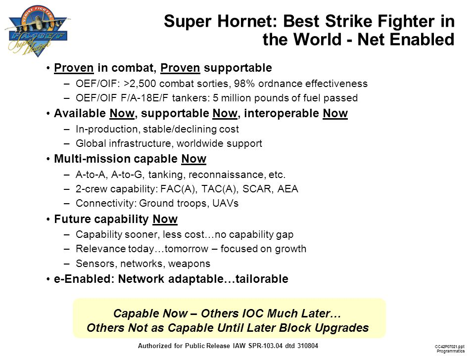 Super Hornet: Best Strike Fighter in the World - Net Enabled