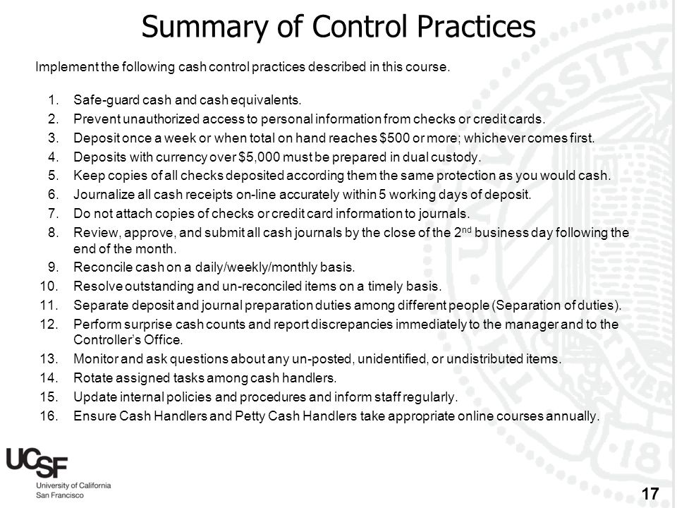Summary of Control Practices
