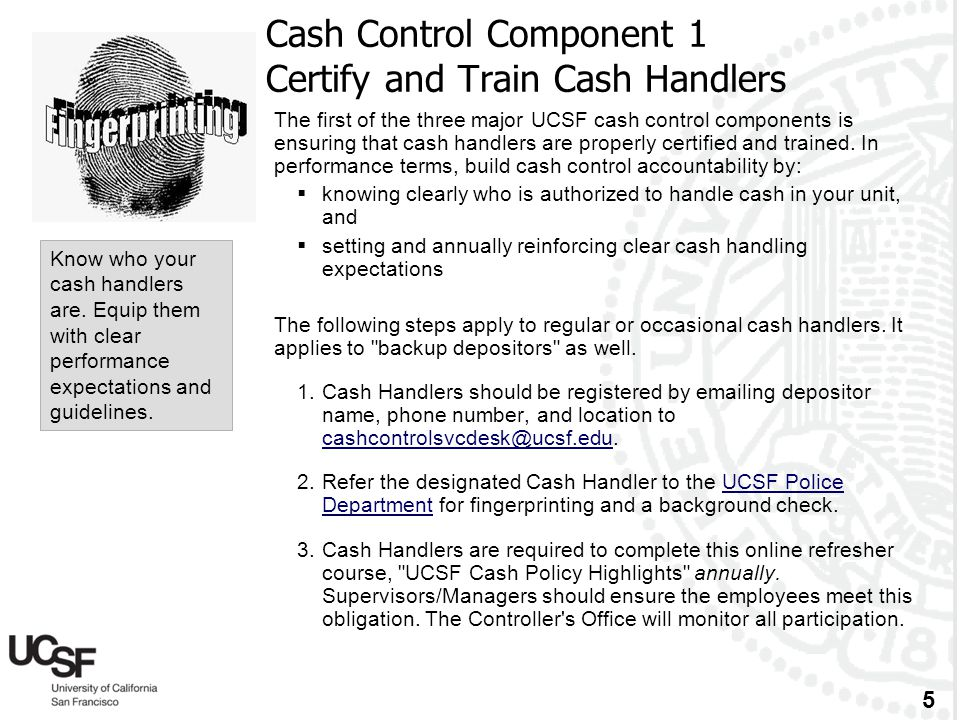 Cash Control Component 1 Certify and Train Cash Handlers