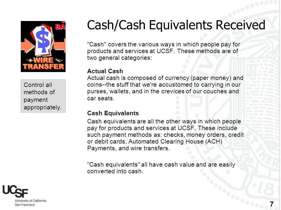 Cash/Cash Equivalents Received