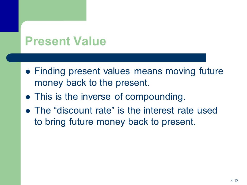 Present Value Finding present values means moving future money back to the present. This is the inverse of compounding.