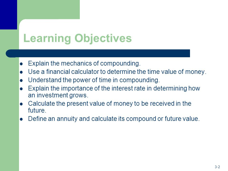 Learning Objectives Explain the mechanics of compounding.