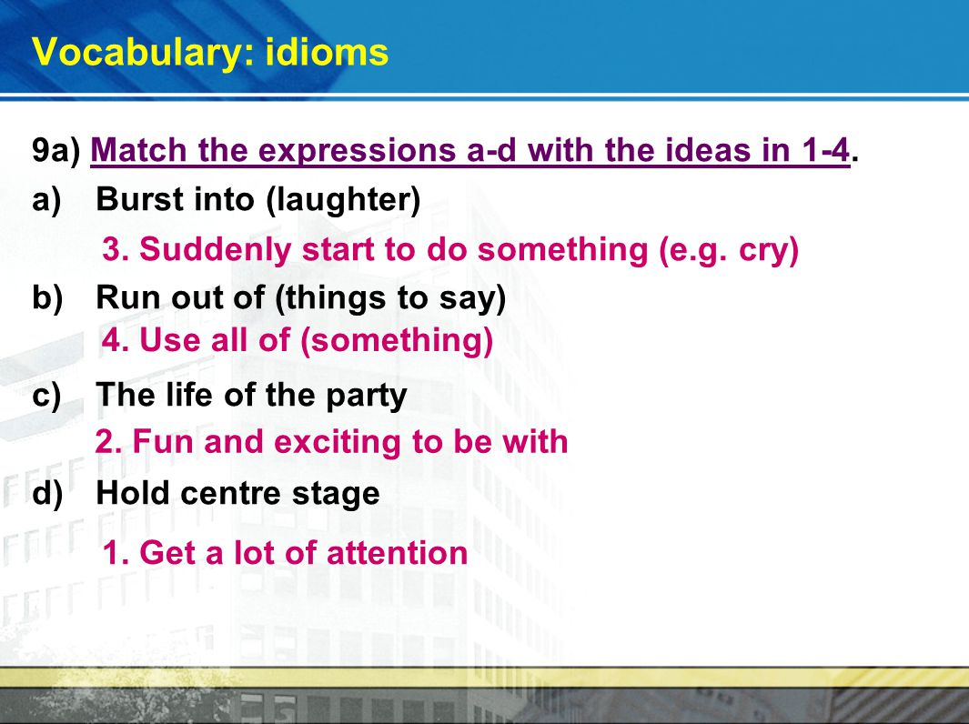 idioms unit 1 Study 22 idioms unit 1 flashcards from ali f on studyblue.