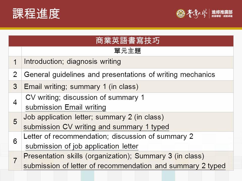 課程進度 商業英語書寫技巧 1 Introduction; diagnosis writing 2