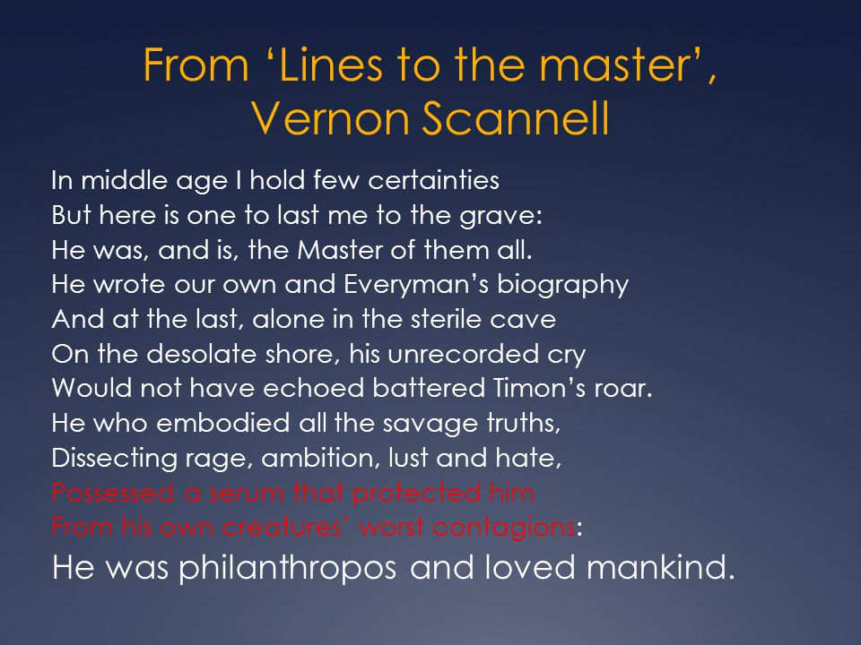 From 'Lines to the master', Vernon Scannell
