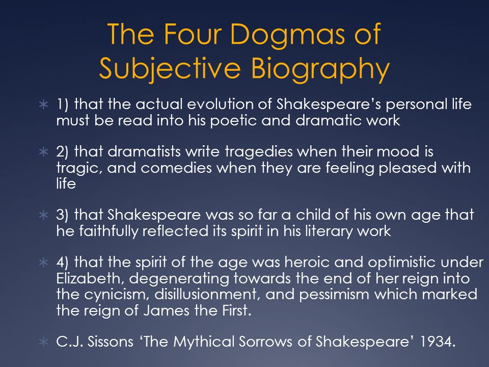 The Four Dogmas of Subjective Biography