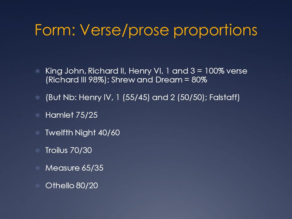 Form: Verse/prose proportions